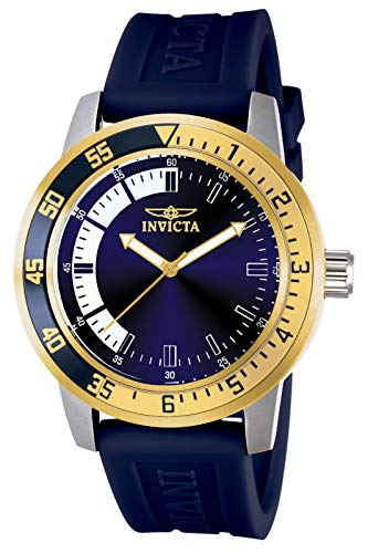 Invicta Men's Specialty 45mm Stainless Steel Quartz Watch with Blue Silicone Band, Blue/Gold (Model: 12847)
