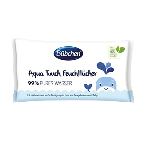 Bübchen Aqua Touch Feuchttücher, Pflegetücher für Neugeborene und Babys, mit 99% purem Wasser, (3 x 48 Stück)