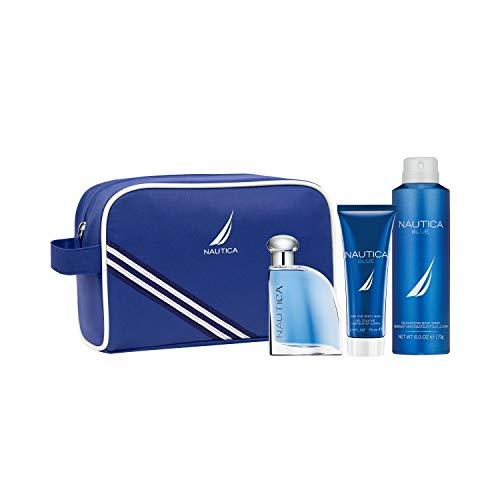 Nautica Blue Eau De Toilette for Men with Hair and Body Wash & Deodorant Spray, 3-Piece Set