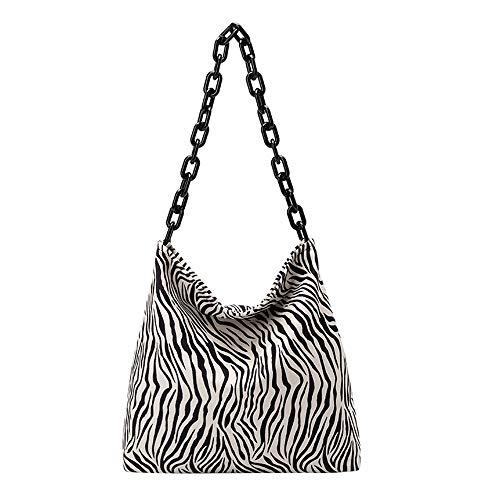 Moda casual ligero de las mujeres de gran tamaño Zebra Print Suede Crossbody Bolsas de hombro con correa ajustable