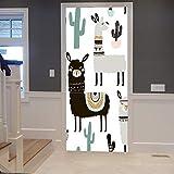 A.Monamour Adesivo Porta Autoadesiva Modello di Cactus di Cactus di Lama Disegnato A Mano per Bambini Vinile PVC Adesivi per Porte Interne 3D Pellicola Adesiva Poster Sticker Murale Decorazione
