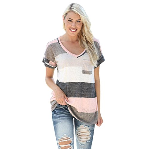 Sinwo Summer Plus Size Women Loose Top Short Sleeve Blouse Ladies Casual Tops T-Shirt (Gray, S)