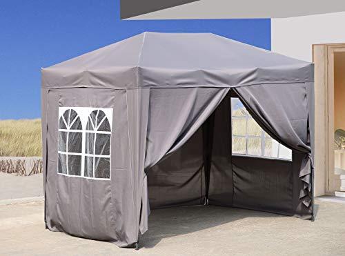 QUICK STAR Pop-Up-Pavillon 2 x 3 m Smoky Grau mit 4 Easy-Klett Seitenwänden 2 mit Reißverschlüssen.