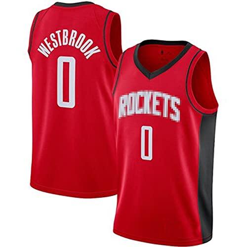 PPDD Wěstbrǒǒk 0# Rockets Basketball Jersey Camisetas para Hombres Camiseta sin Mangas para Estudiantes Ropa técnica Profesional Entrenamiento de Ropa Deportiva, Ligero, Red-S