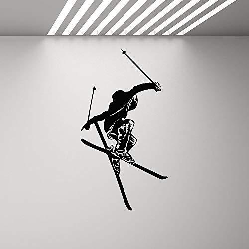 SLQUIET Ski Wandkarte Skifahrer Poster Gym Wandbild Winter Spiele Ski Vinyl Wandaufkleber Fitness Extreme Sports Boy Dekoration Haus Und Garten Wandaufkleber 24 braun 42X80 CM