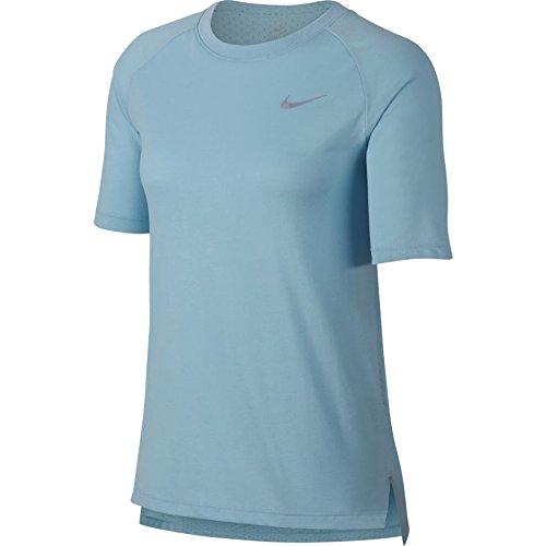 Nike Damen Tailwind Short-Sleeve Top, Ocean Bliss/Reflective Silver, XL
