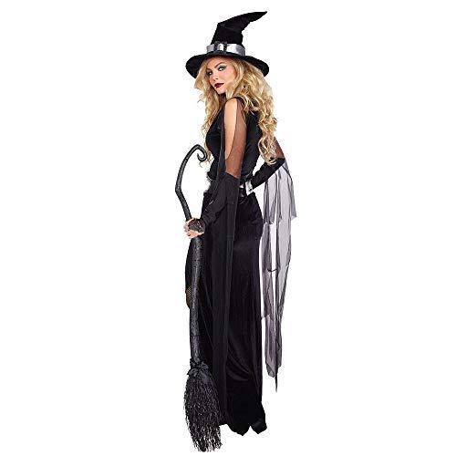GBYAY Vestido de Bruja Irregular Negro para Mujer Disfraz de Fiesta de Cosplay de Halloween