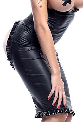 Damen Dessous fetisch Wetlook Rock in schwarz dehnbar mit Reißverschluss und Po-Ausschnitt Knielang high Waist M