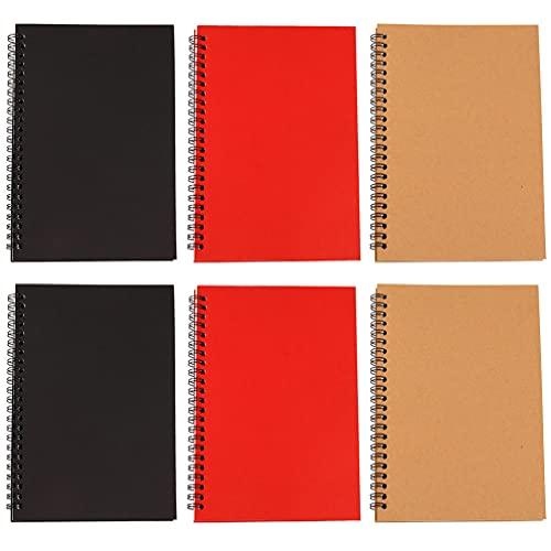 NUOBESTY 6 Unidades de Cuaderno Espiral A5 Cuadernos de Viaje con Alambre Cuadernos de Notas Cuadernos de Diario Planificador para La Oficina Escolar en Casa Dibujo Y Escritura