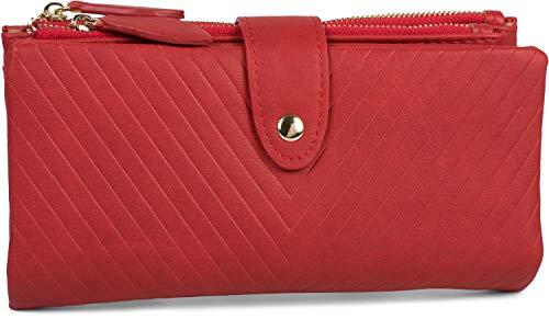 styleBREAKER Damen Portemonnaie mit V-Förmig geprägter Struktur, Druckknopf, Reißverschluss Geldbörse 02040124, Farbe:Rot