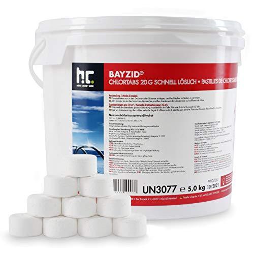 5 kg HOCHEFFEKTIVE Pool Chlor Tabletten 20g BAYZID schnell löslich mit 56{3d19c6535e47593625bf5075ba0c522856275c371179b25489598294286ccbb7} Aktivchlorgehalt für Pool & Schwimmbad von Höfer Chemie