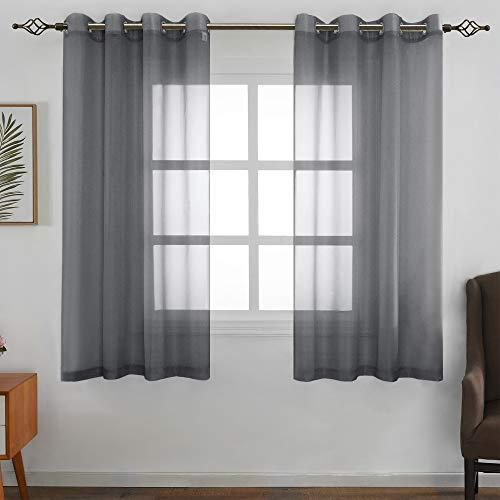 FLOWEROOM Transparent Voile Gardinen - Einfarbige Durchsichtig Vorhänge mit Ösen für Wohnzimmer 175x140 cm Grau 2er Set