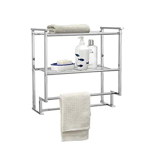 CARO-Möbel Handtuchhalter Bad Wandregal Hängeregal Duschregal Baris 45 cm breit mit 2 Ablagen aus verchromtem Metall