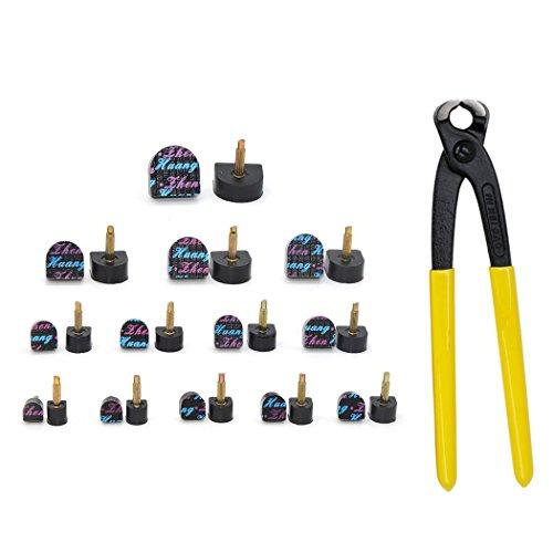 Kit de reemplazo de punta de 13 pares para estilete con alicates de espiga de tacón alto, el juego incluye 13 pares de puntas en diferentes tamaños y alicates de tacón de aguja Núcleo 3.0mm core negro
