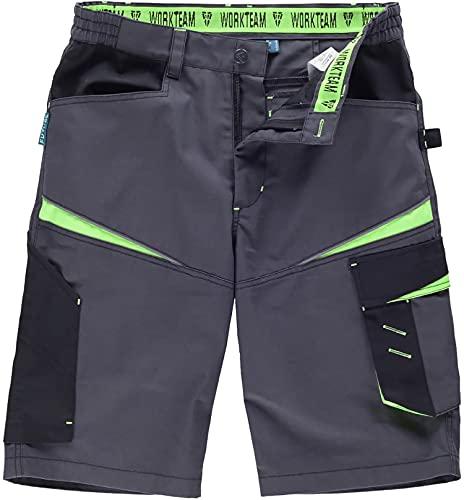 Workteam Pantalón Corto de Trabajo, Tejido Canvas (Extremadamente Resistente y Duradero). Elástico en la Cintura. Unisex Gris Oscuro+Negro+Verde Lima M