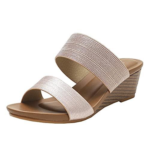 WENHUA Mujeres Zapatos de Piscina Chanclas de Playa, Chanclas Simples para Exteriores, Pantuflas de cuña con Punta Abierta-A_37, Zapatos de Ducha