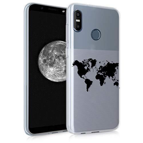 kwmobile Hülle kompatibel mit HTC U12 Life - Hülle Handy - Handyhülle - Travel Umriss Schwarz Transparent