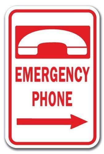 NDTS Metall-Dekoschild, 30,5 x 40,6 cm, lustige dekorative Schilder, Notruf-Telefon, Pfeil nach rechts, schweres Metall, Aluminium, für Garagen, Wohnzimmer