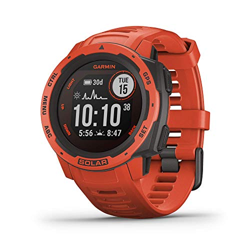 Garmin Instinct Solar, Solar-Powered Rugged Outdoor Smartwatch, Built-in Sports Apps and Health Monitoring, Flame Red (Renewed)