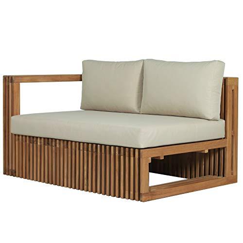Teako Design Lounge Sofa Loppio Seitenteil Links 2-Sitzer mit Auflagen Teakholz Wetterfest Loungemöbel Gartensofa robust