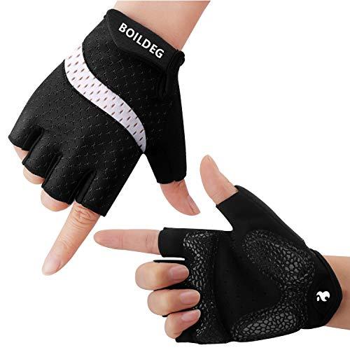 BOILDEG Fahrradhandschuhe Fingerlos Fitness Handschuhe Atmungsaktiv Rutschfestes Stoßdämpfende Radsporthandschuhe für MTB Fitness Damen und Herren(Schwarz-Weiß,L)