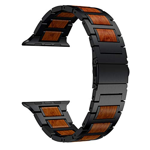 LDFAS Compatible for Apple Watch Band 44mm/42mm, Natural Wood Red Sandalwood Black Stainless Steel Metal Strap with Folding Clasp Compatible for Apple Watch Series 5/4/3/2/1