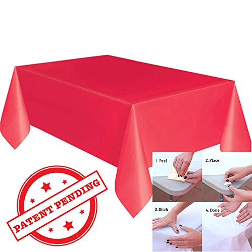 Try The Best! Premium Disposable Plastic Table Cover, Best Innovative Tablecloth Design Sticks to Table - No Clips, 54 x 108 Inch, Waterproof Tablecloths for Rectangle Tables up to 8 ft, (Red, 10)