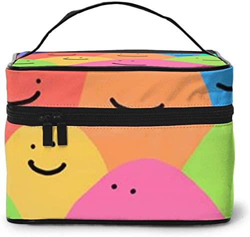 Colorido diseño de sonrisa arco iris grande bolsa de maquillaje mujeres portátil cosmético caso organizador viaje con cremallera cepillo de malla bolsillo aseo con mango chica