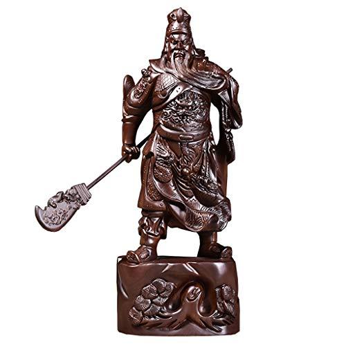 NXYJD Talla De Madera Ébano Cuchillo Horizontal De Madera Maciza Guan Gong Decoración Casa De La Suerte Gran Artesanía Wu CAI Shen Guan Yu Decoración Sala De Estar (Size : 80)