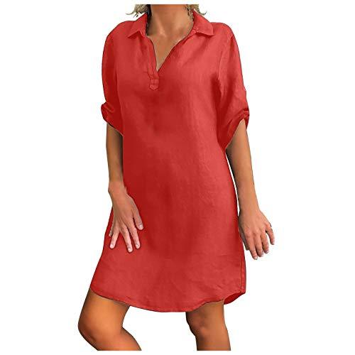 Lenago Women Cotton Linen Dresses Solid Color Turn Down Collar Loose Shirt Dress Plus Size Skirts (Hot Pink,M)