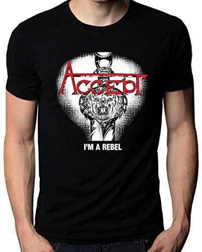 Accept I'm A Rebel Music Metal Band Logo Men's T Shirt Camisetas...