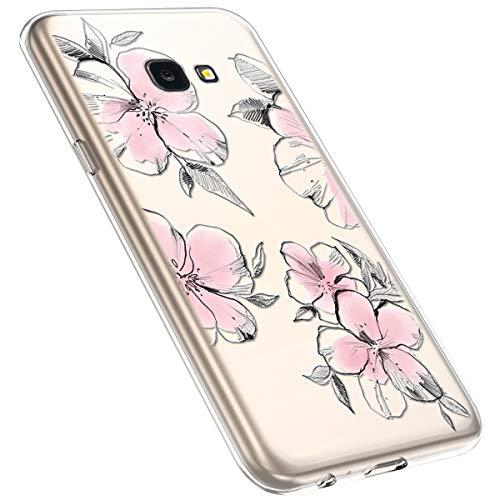 MoreChioce kompatibel mit Galaxy J4 Plus 2018 Hülle,Galaxy J4 Plus 2018 Handyhülle Blume,Ultra Dünn Transparent Silikon Schutzhülle Clear Crystal Rückschale Tasche Defender Bumper,Blumenzweig #28