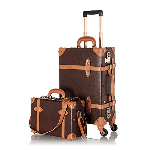 COTRUNKAGE Vintage 2 Piece Luggage Sets TSA Lock Carry On Suitcase for Women with Spinner Wheels, Cocoa Brown