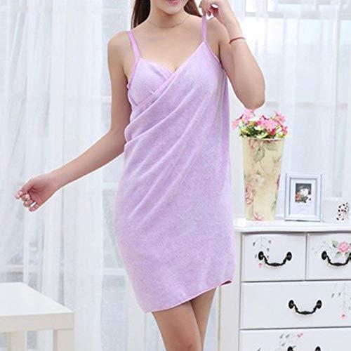 YHWW Toalla de baño,Nuevo Toalla Textil para el hogar Batas de Mujer Toalla de baño Vestido para Mujer Dama de Secado rápido Playa SPA Ropa de Dormir mágica Dormir, Morado