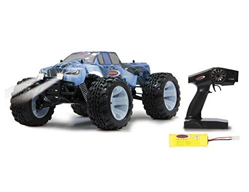 Jamara Tiger Ice Monstertruck 1:10 4WD NiMh 2,4G LED - Allrad, Elektroantrieb, Akku, 35Kmh, Aluchassis, spritzwasserfest, Öldruckstoßdämpfer, Kugellager, Fahrwerk einstellbar, fahrfertig