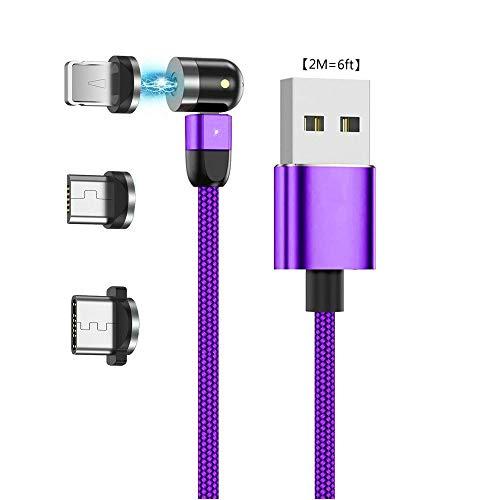 Ruibo Sike - Cable de carga magnético USB 3 en 1 para carga de 360 ° y 180 °, cable giratorio de 2,4 A de nailon, cable giratorio magnético 2M=6ft morado