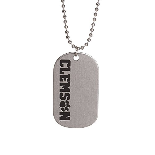 Fan Frenzy Gifts NCAA Clemson University Dog Tag & Ball Chain Necklace