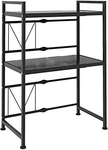 Estante de horno de microondas expandible, organizador de estante de encimera de cocina Extensión horizontal Soporte de estante de microondas ajustable de altura Organizador de encimera de cocina