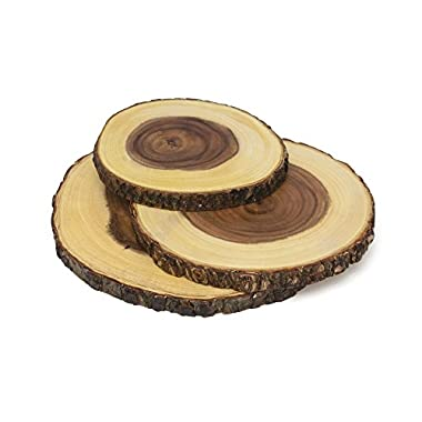 Lipper International 1040 Acacia Wood Slab Serving Board With Bark for Cheese, Crackers, and Hors D'oeuvres, Set of 3, Assorted Sizes