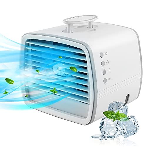 iKALULA Mini Klimaanlage,4 In 1Kleine Klimaanlage Leise Für Zimmer,Klimaanlage Ventilator USB,7 Stimmungslichtern 3 Geschwindigkeiten,Mobil Klimagerät Verdunstungskühler Luftbefeuchter für Zimmer,Büro