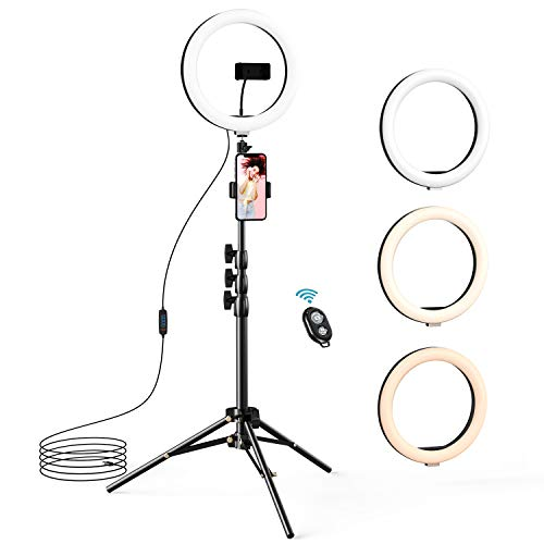 10.2' Selfie Ring Light with Tripod Stand & 2 Phone Holders, LETSCOM Dimmable LED Beauty Camera Ringlight for Makeup/Photography/Live Stream Video/Vlog/Tiktok/YouTube, Compatible with iPhone & Android