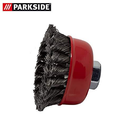 Potborstel, geknoopt, opzetstuk voor metalen oppervlakken, voor het verwijderen van roest, lakken en kleuren, geschikt voor de Parkside elektrische slijper PWS 125 serie LIDL IAN 270722, 100132, 114254, 275389