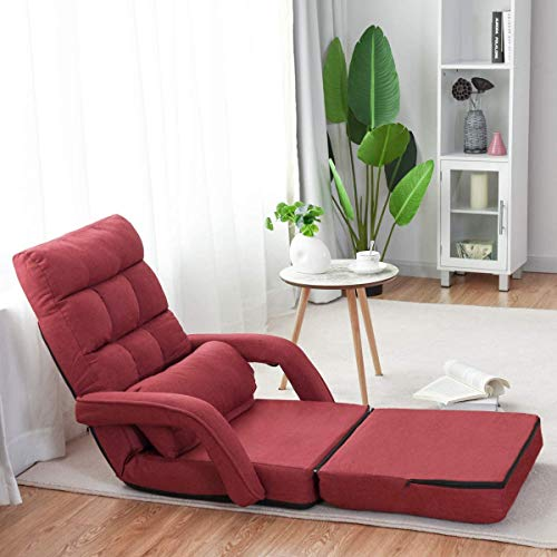 COSTWAY Adjustable Folding Lazy Sofa Bed with Pillow and Armrests, Convertible Floor Armchair Sofa Seat for Home Office, Easy-to-Clean (Red)