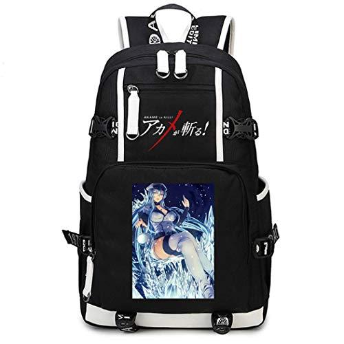 WANHONGYUE Akame ga Kill Anime Mochila Escolar Estudiante Bolso de Escuela Backpack Mochila para Portátil Negro-12