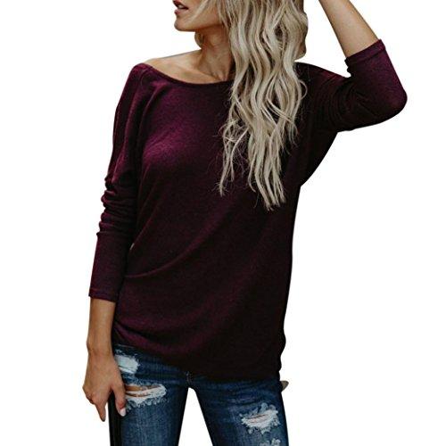 WWricotta Damen Langarmshirt Basic Rundhals Rueckenfrei Lose Bluse Vintage Hemd Shirt Jumper Sweatshirt Strickpullover