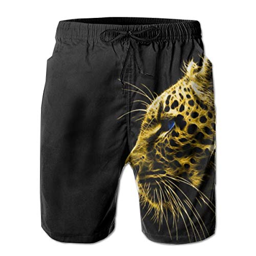 YongColer Men Summer Beach Board Shorts Swim Trunks with Pockets (Gold Cheetah Leapard Black)