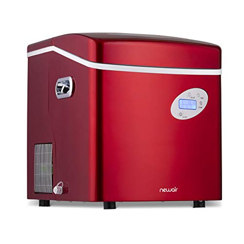 NewAir Portable Ice Maker 50 lb. Daily - Countertop Design - 3 Size Bullet Shaped Ice - AI-215R - Red