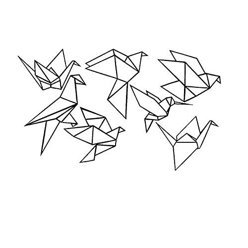 Rhpnyi Calcomanía de Pared de pájaro de Origami geométrica Pegatina de Vinilo de pájaro Volador Decorativo 114x68cm