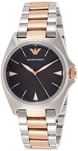 Emporio Armani Reloj Analogico para Hombre de Cuarzo con Correa en Acero Inoxidable AR11256, Plata/Rosa