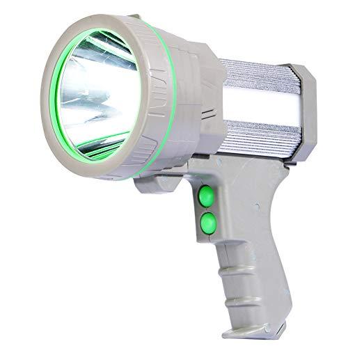 Af-Wan Linterna de mano LED recargable por USB, 6000 lm, 5 modos de iluminación, resistente al agua, para camping, dorado